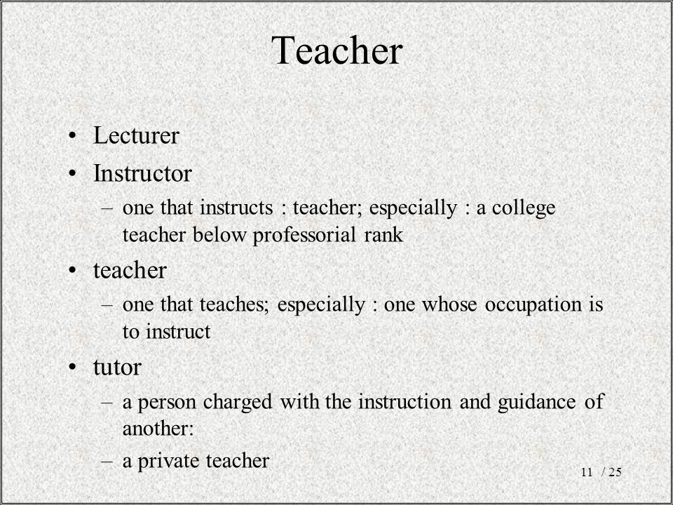 Teacher Lecturer Instructor –one that instructs : teacher; especially : a college teacher below professorial rank teacher –one that teaches; especially : one whose occupation is to instruct tutor –a person charged with the instruction and guidance of another: –a private teacher / 2511