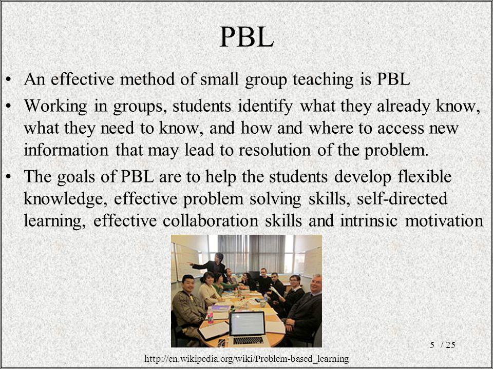PBL An effective method of small group teaching is PBL Working in groups, students identify what they already know, what they need to know, and how and where to access new information that may lead to resolution of the problem.