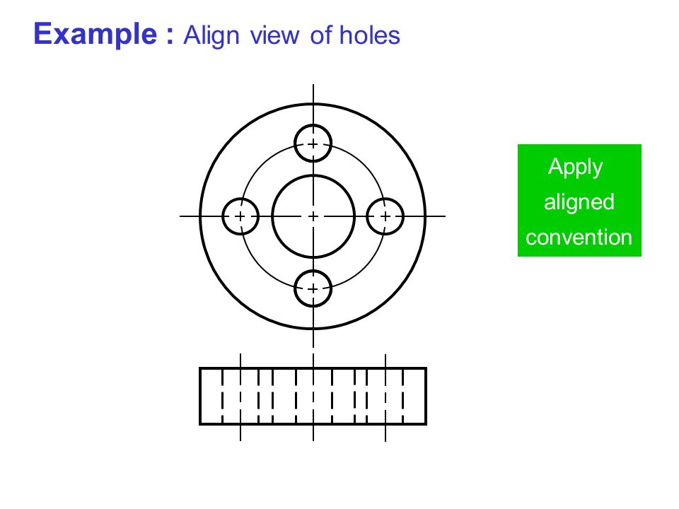 Example : Align view of holes Apply aligned convention