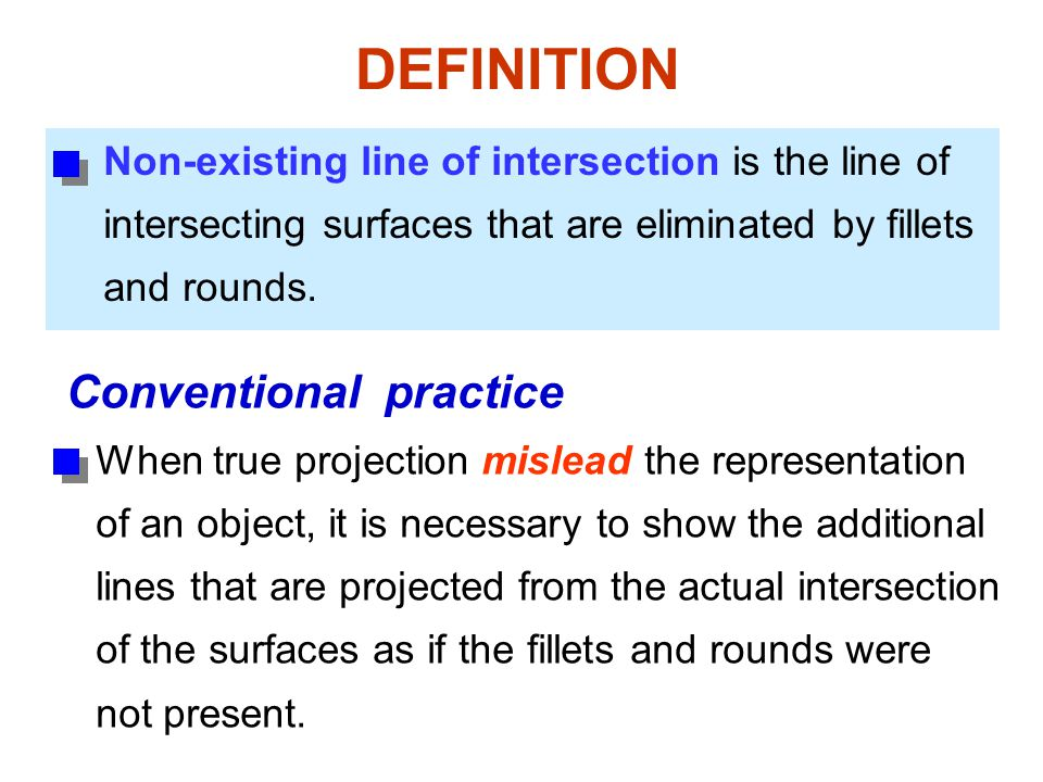 Non-existing line of intersection is the line of intersecting surfaces that are eliminated by fillets and rounds. When true projection mislead the rep