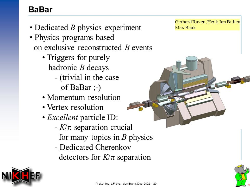 Prof.dr Ing. J.F.J van den Brand, Dec. 2002 – 20 BaBar Gerhard Raven, Henk Jan Bulten Max Baak Dedicated B physics experiment Physics programs based o