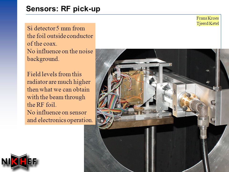 Prof.dr Ing. J.F.J van den Brand, Dec. 2002 – 27 Sensors: RF pick-up Si detector 5 mm from the foil outside conductor of the coax. No influence on the
