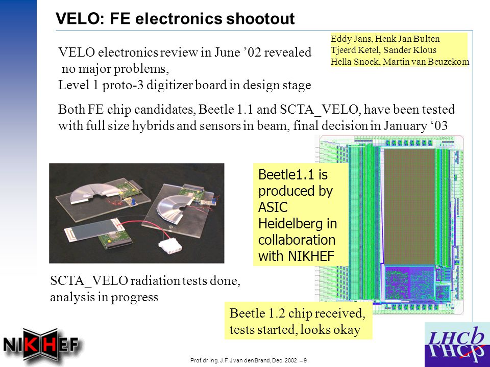 Prof.dr Ing. J.F.J van den Brand, Dec. 2002 – 9 Both FE chip candidates, Beetle 1.1 and SCTA_VELO, have been tested with full size hybrids and sensors