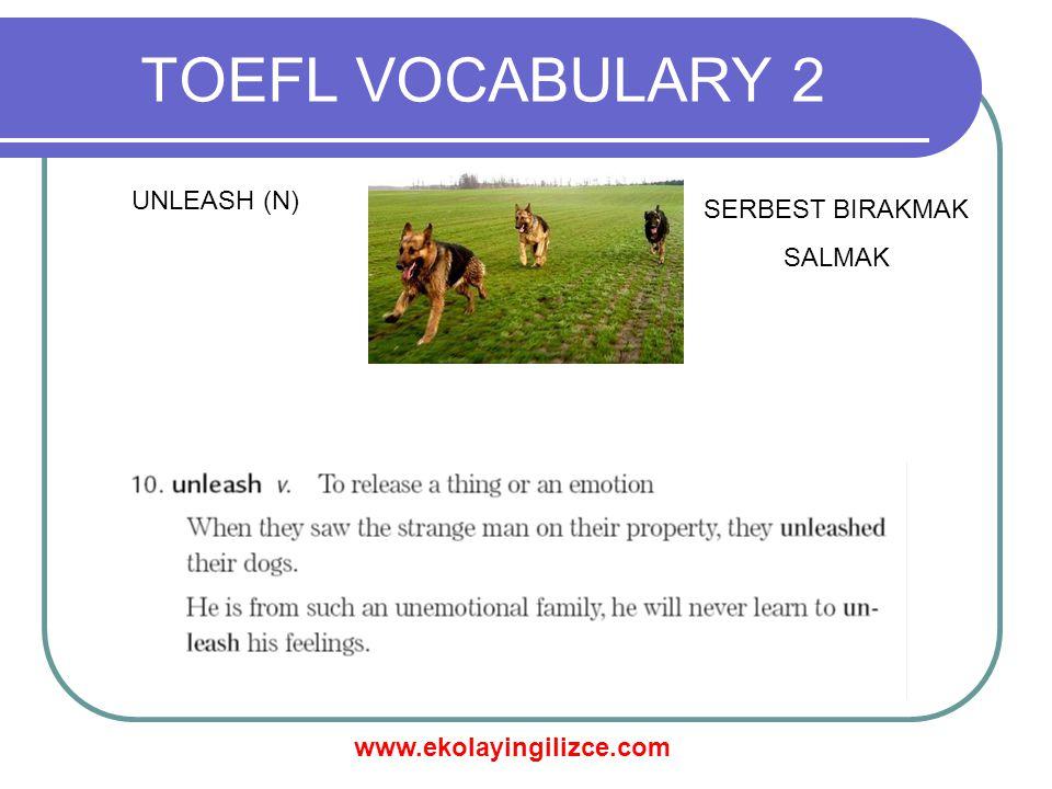 www.ekolayingilizce.com TOEFL VOCABULARY 2 UNLEASH (N) SERBEST BIRAKMAK SALMAK