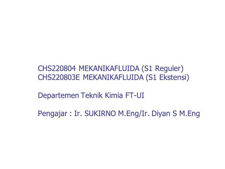 CHS220804 MEKANIKAFLUIDA (S1 Reguler) CHS220803E MEKANIKAFLUIDA (S1 Ekstensi) Departemen Teknik Kimia FT-UI Pengajar : Ir.