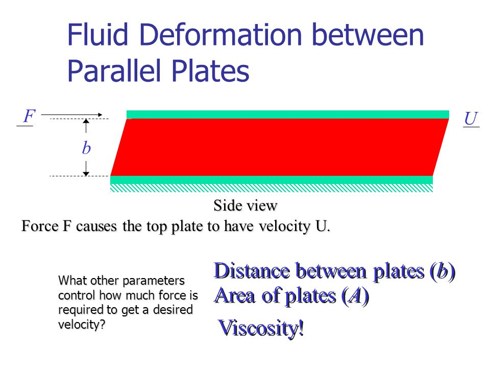 Fluid Deformation between Parallel Plates Side view Force F causes the top plate to have velocity U.