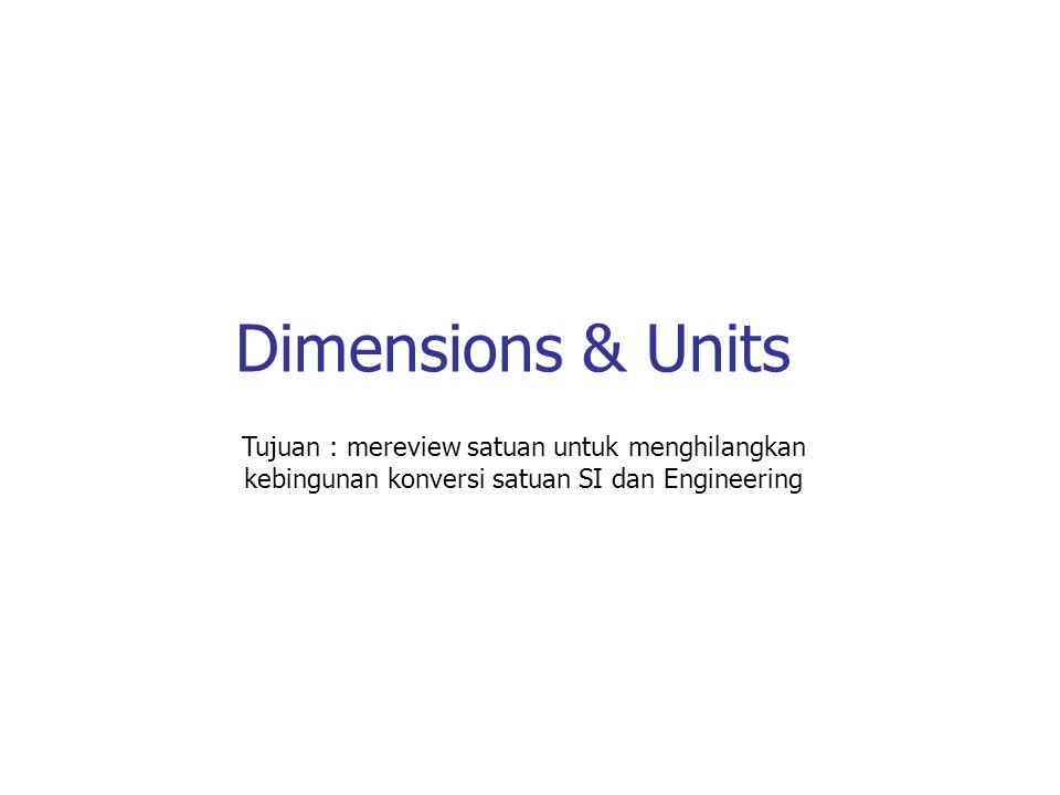 Dimensions & Units Tujuan : mereview satuan untuk menghilangkan kebingunan konversi satuan SI dan Engineering