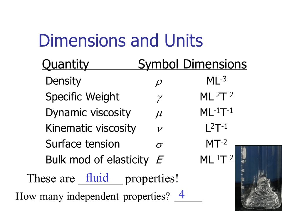 Dimensions and Units QuantitySymbolDimensions Density  ML -3 Specific Weight  ML -2 T -2 Dynamic viscosity  ML -1 T -1 Kinematic viscosity L 2 T -1 Surface tension  MT -2 Bulk mod of elasticityE ML -1 T -2 These are _______ properties.
