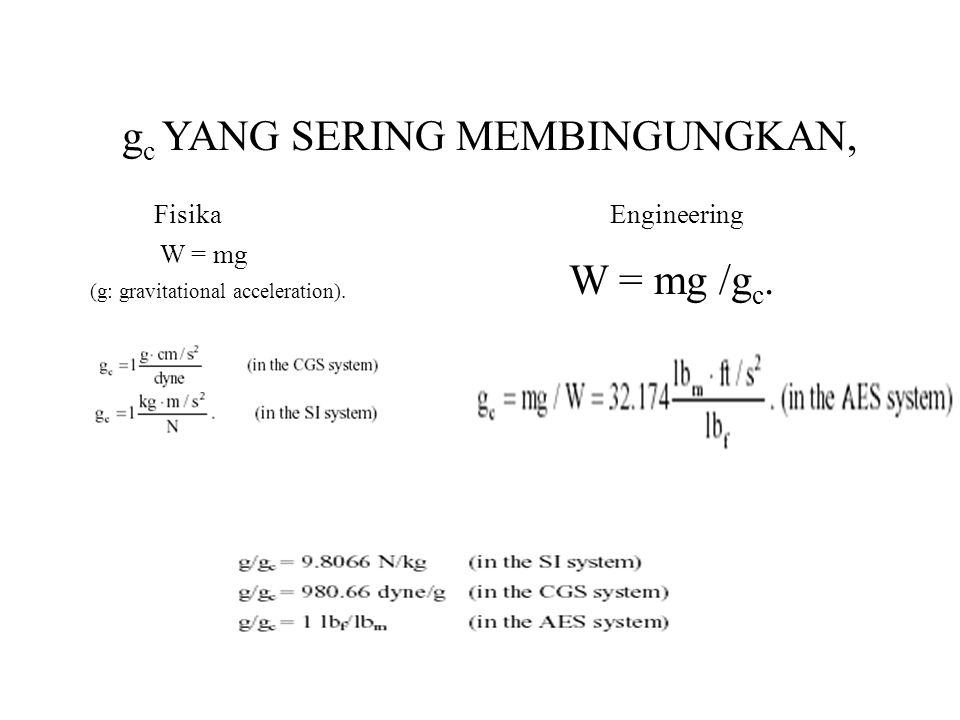 g c YANG SERING MEMBINGUNGKAN, W = mg W = mg /g c.