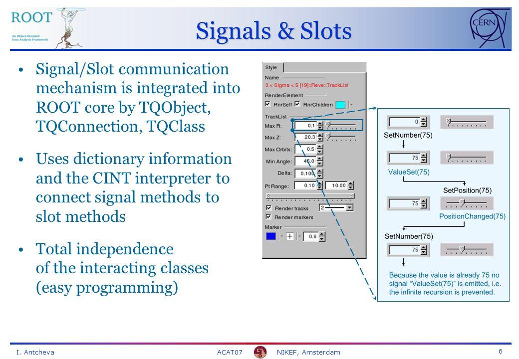 I. Antcheva ACAT07 NIKEF, Amsterdam 7 Scripting Macros via the ROOT Object Browser