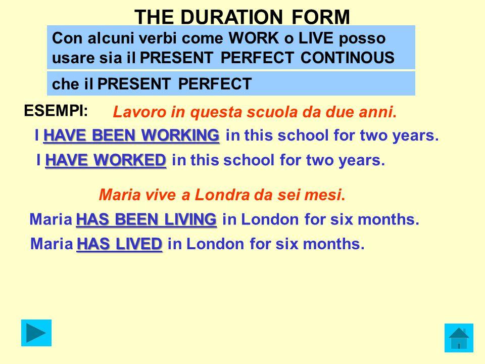 THE DURATION FORM Lavoro in questa scuola da due anni. HAVE BEEN WORKING I HAVE BEEN WORKING in this school for two years. ESEMPI: Con alcuni verbi co