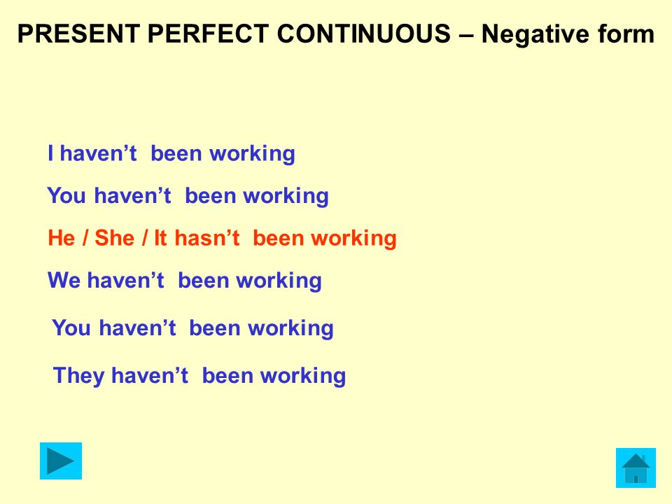 PRESENT PERFECT CONTINUOUS Interrogative form Have I been working.