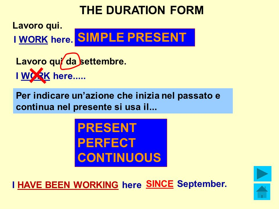 THE DURATION FORM Lavoro qui da settembre.I HAVE BEEN WORKING here SINCE September.