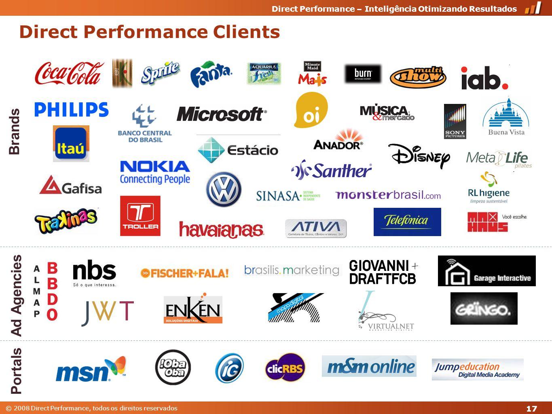 © 2008 Direct Performance, todos os direitos reservados Direct Performance – Inteligência Otimizando Resultados 17 Direct Performance Clients Ad Agencies Brands Portals
