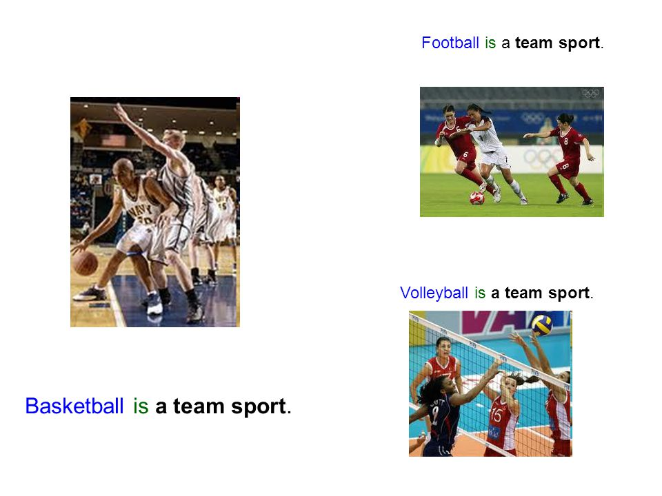 Basketball is a team sport. Football is a team sport. Volleyball is a team sport.