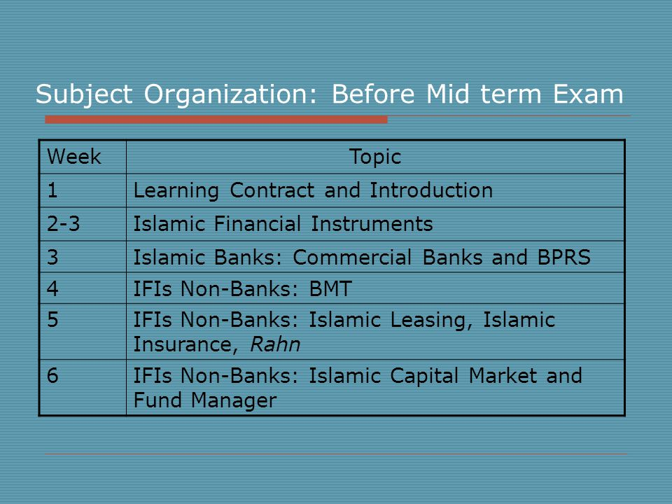 Subject Organization: Before Mid term Exam WeekTopic 1Learning Contract and Introduction 2-3Islamic Financial Instruments 3Islamic Banks: Commercial Banks and BPRS 4IFIs Non-Banks: BMT 5IFIs Non-Banks: Islamic Leasing, Islamic Insurance, Rahn 6IFIs Non-Banks: Islamic Capital Market and Fund Manager