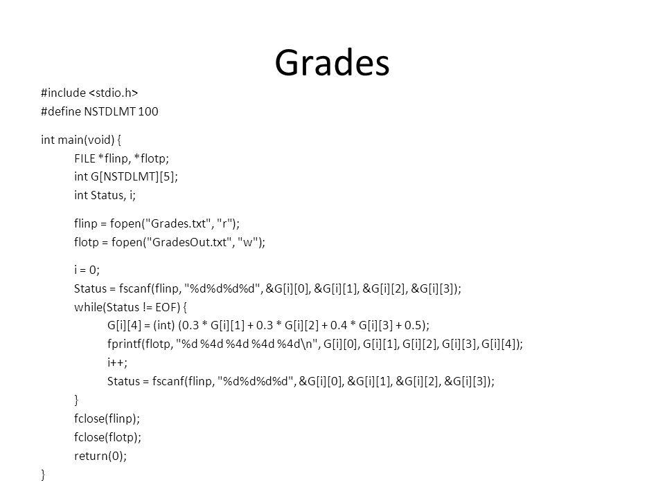 Grades #include #define NSTDLMT 100 int main(void) { FILE *flinp, *flotp; int G[NSTDLMT][5]; int Status, i; flinp = fopen( Grades.txt , r ); flotp = fopen( GradesOut.txt , w ); i = 0; Status = fscanf(flinp, %d%d%d%d , &G[i][0], &G[i][1], &G[i][2], &G[i][3]); while(Status != EOF) { G[i][4] = (int) (0.3 * G[i][1] + 0.3 * G[i][2] + 0.4 * G[i][3] + 0.5); fprintf(flotp, %d %4d %4d %4d %4d\n , G[i][0], G[i][1], G[i][2], G[i][3], G[i][4]); i++; Status = fscanf(flinp, %d%d%d%d , &G[i][0], &G[i][1], &G[i][2], &G[i][3]); } fclose(flinp); fclose(flotp); return(0); }