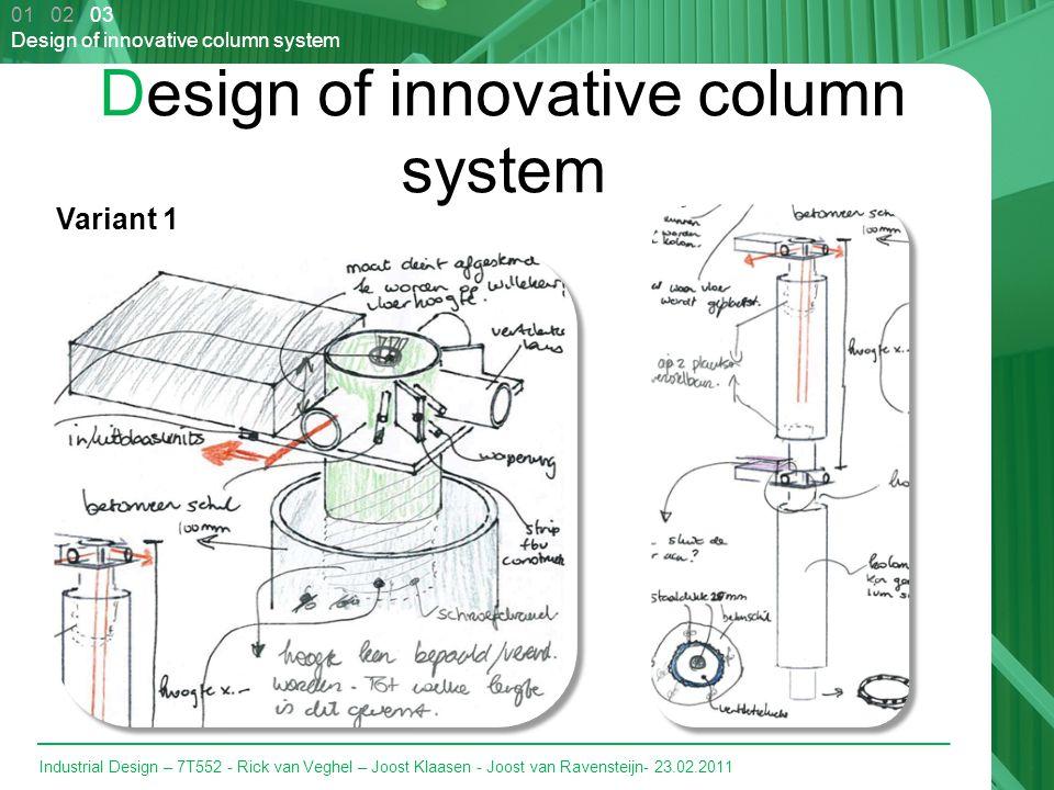 Industrial Design – 7T552 - Rick van Veghel – Joost Klaasen - Joost van Ravensteijn- 23.02.2011 Design of innovative column system 01 02 03 Design of innovative column system Variant 1