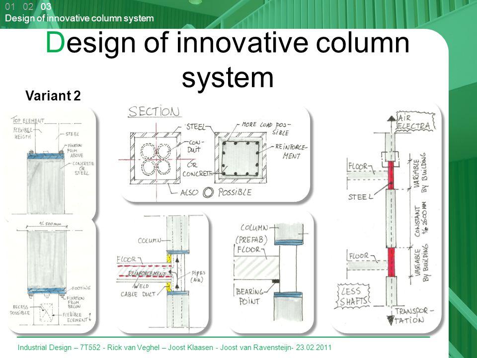 Industrial Design – 7T552 - Rick van Veghel – Joost Klaasen - Joost van Ravensteijn- 23.02.2011 Design of innovative column system Variant 2 01 02 03 Design of innovative column system