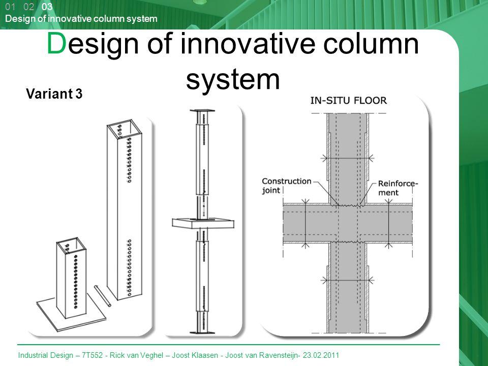 Industrial Design – 7T552 - Rick van Veghel – Joost Klaasen - Joost van Ravensteijn- 23.02.2011 Design of innovative column system Variant 3 01 02 03 Design of innovative column system