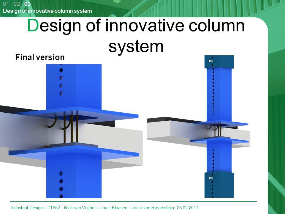 Industrial Design – 7T552 - Rick van Veghel – Joost Klaasen - Joost van Ravensteijn- 23.02.2011 Design of innovative column system Final version 01 02 03 Design of innovative column system