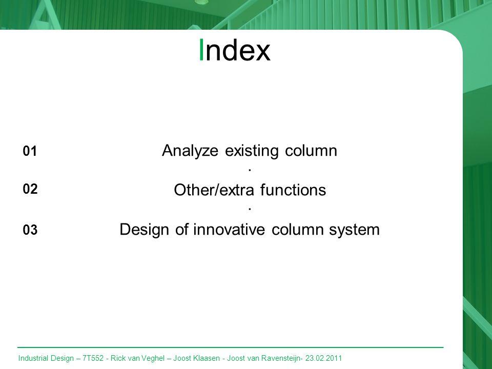 Industrial Design – 7T552 - Rick van Veghel – Joost Klaasen - Joost van Ravensteijn- 23.02.2011 Index Analyze existing column · Other/extra functions · Design of innovative column system 01 02 03