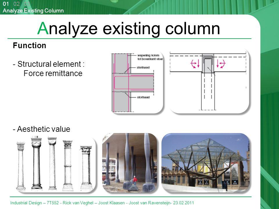 Industrial Design – 7T552 - Rick van Veghel – Joost Klaasen - Joost van Ravensteijn- 23.02.2011 Analyze existing column 01 02 03 Analyze Existing Column Function - Structural element : Force remittance - Aesthetic value