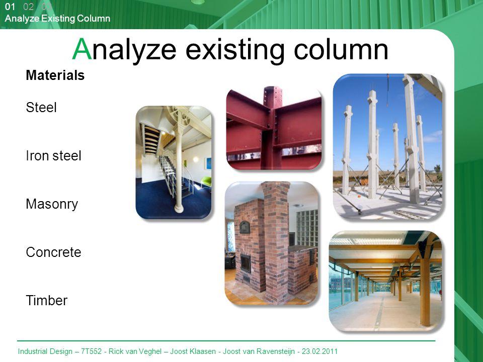 Industrial Design – 7T552 - Rick van Veghel – Joost Klaasen - Joost van Ravensteijn - 23.02.2011 Analyze existing column 01 02 03 Analyze Existing Column Materials Steel Iron steel Masonry Concrete Timber