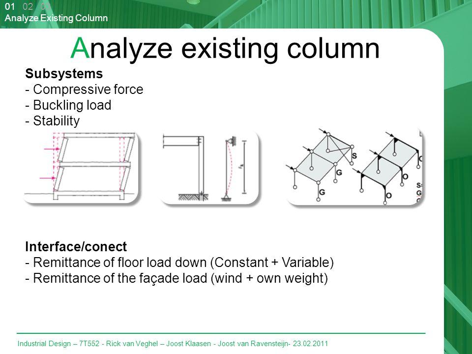 Industrial Design – 7T552 - Rick van Veghel – Joost Klaasen - Joost van Ravensteijn- 23.02.2011 Analyze existing column 01 02 03 Analyze Existing Column Subsystems - Compressive force - Buckling load - Stability Interface/conect - Remittance of floor load down (Constant + Variable) - Remittance of the façade load (wind + own weight)