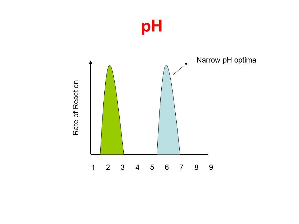Rate of Reaction pH 1 342 5 6 789 Narrow pH optima