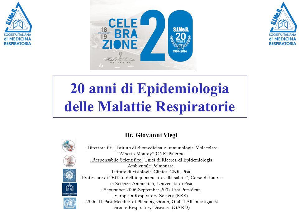 20 anni di Epidemiologia delle Malattie Respiratorie Dr.
