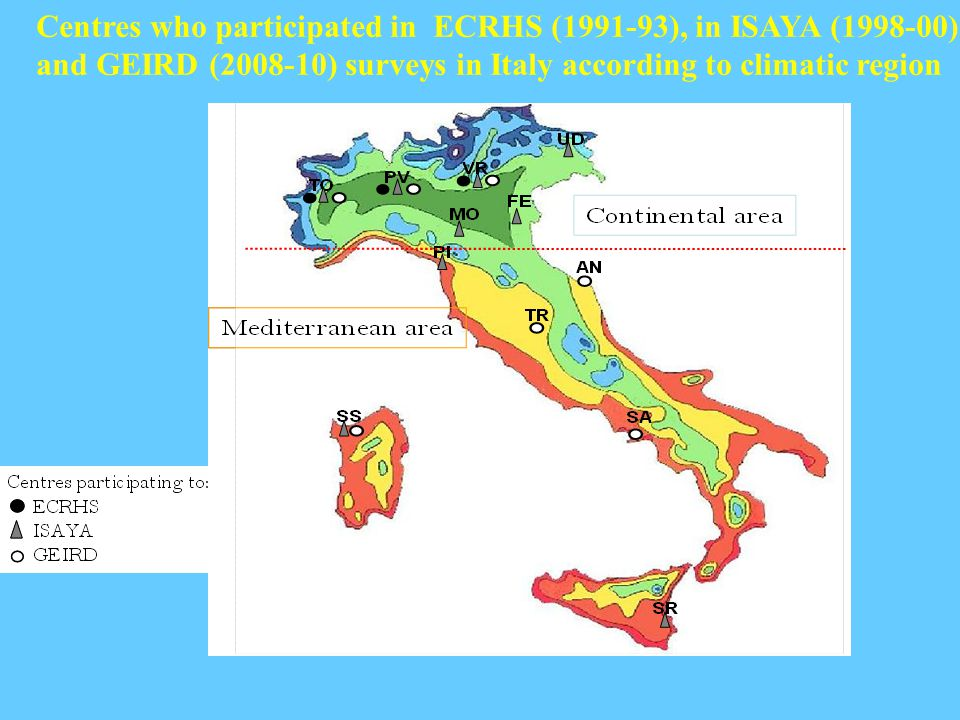 Centres who participated in ECRHS (1991-93), in ISAYA (1998-00) and GEIRD (2008-10) surveys in Italy according to climatic region
