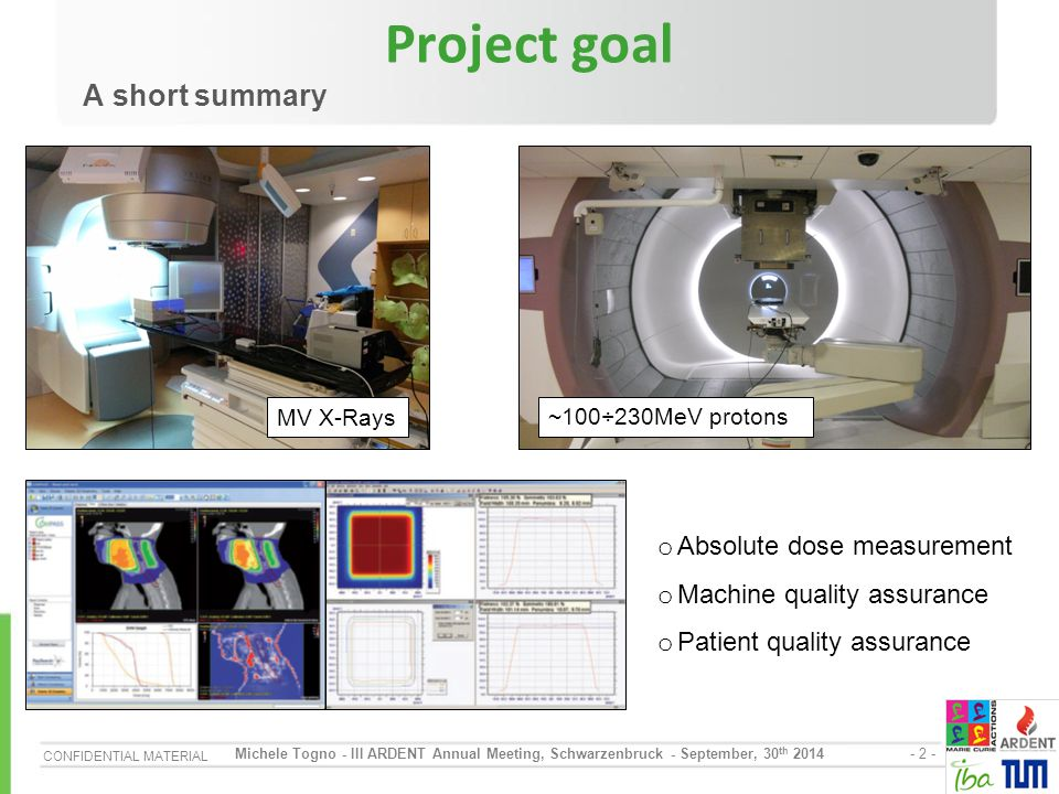 CONFIDENTIAL MATERIAL - 3 - Michele Togno - III ARDENT Annual Meeting, Schwarzenbruck - September, 30 th 2014 Outline o Experimental Activity Characterization at IBA DosLab Characterization at Klinikum rechts der Isar & University of California (San Francisco)-Radiation Oncology dep.