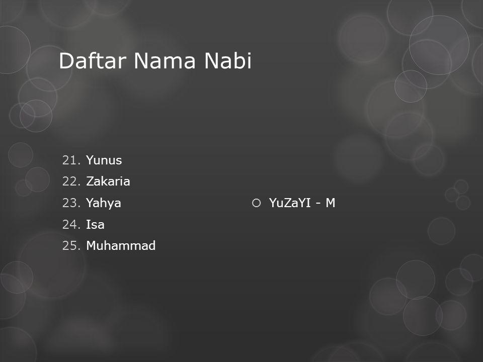 Daftar Nama Nabi 21.Yunus 22.Zakaria 23.Yahya 24.Isa 25.Muhammad  YuZaYI - M