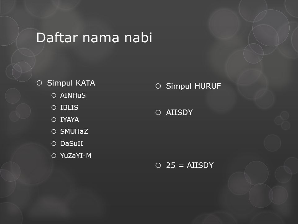Daftar nama nabi  Simpul KATA  AINHuS  IBLIS  IYAYA  SMUHaZ  DaSuII  YuZaYI-M  Simpul HURUF  AIISDY  25 = AIISDY