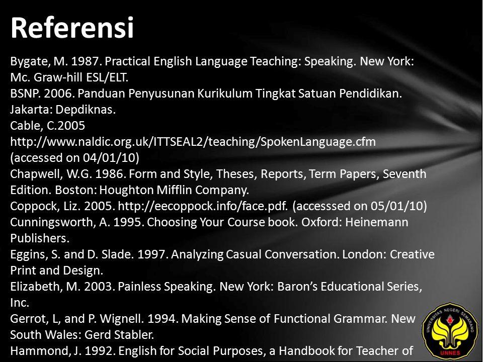 Referensi Bygate, M. 1987. Practical English Language Teaching: Speaking.