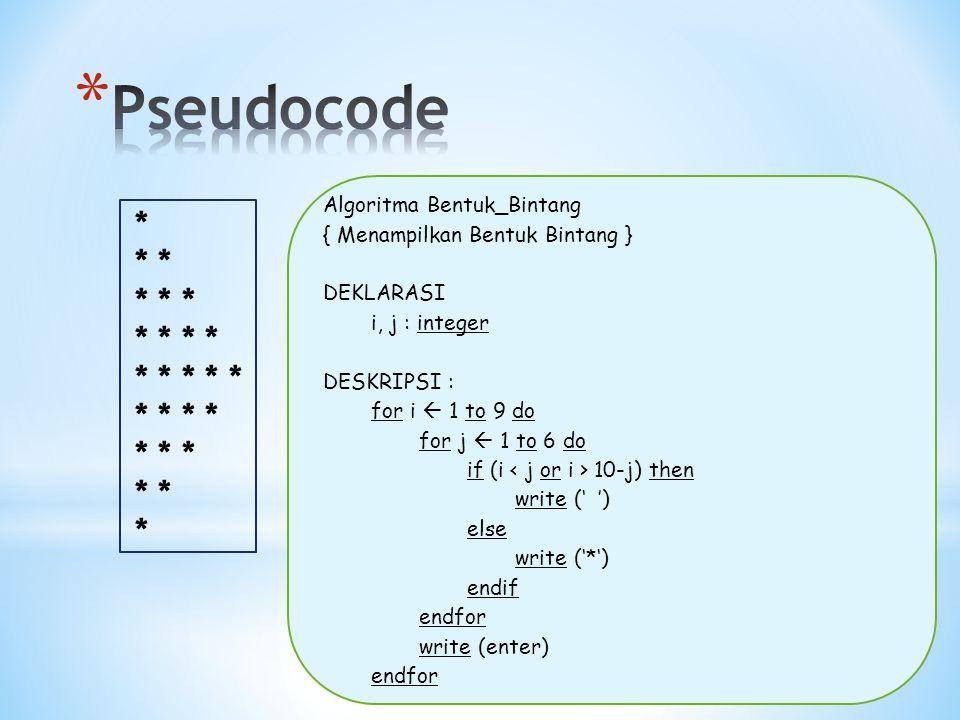 * * * * * * * * * * * * * * * * * Algoritma Bentuk_Bintang { Menampilkan Bentuk Bintang } DEKLARASI i, j : integer DESKRIPSI : for i  1 to 9 do for j  1 to 6 do if (i 10-j) then write (' ') else write ('*') endif endfor write (enter) endfor