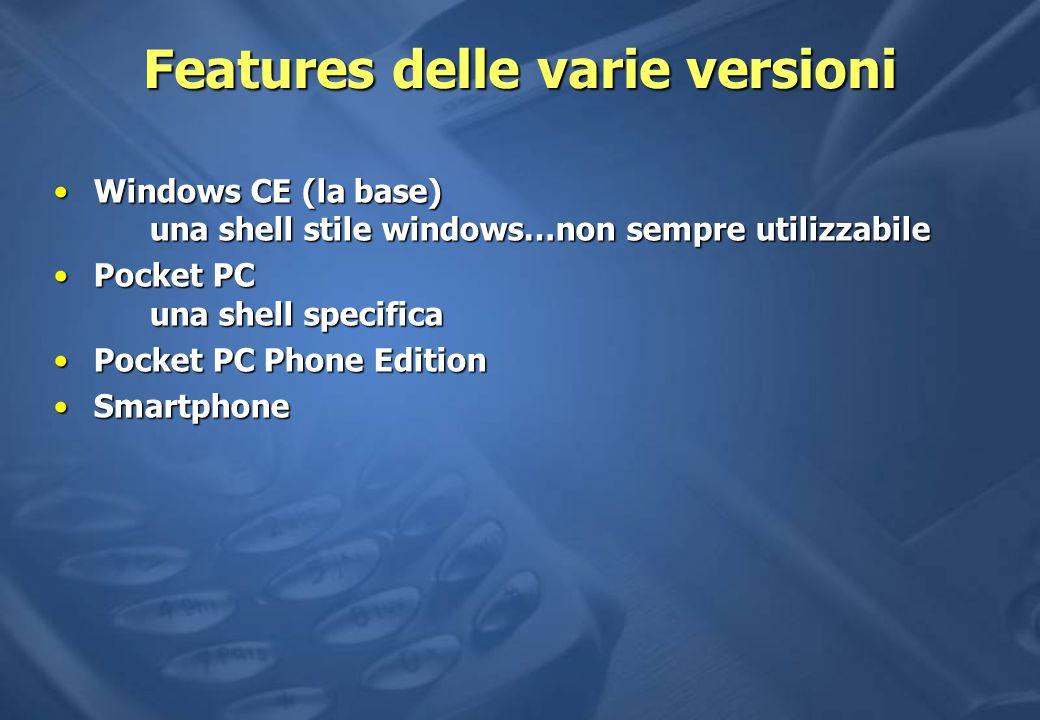 Features delle varie versioni Windows CE (la base) una shell stile windows…non sempre utilizzabileWindows CE (la base) una shell stile windows…non sempre utilizzabile Pocket PC una shell specificaPocket PC una shell specifica Pocket PC Phone EditionPocket PC Phone Edition SmartphoneSmartphone