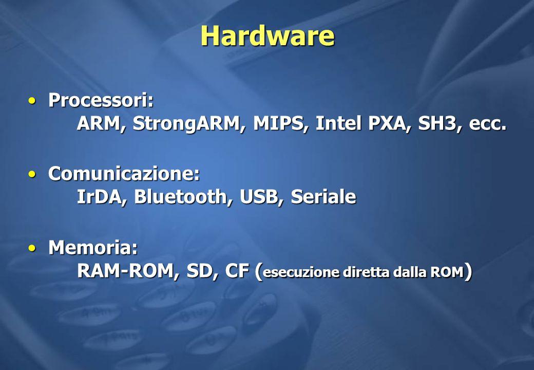 Hardware Processori: ARM, StrongARM, MIPS, Intel PXA, SH3, ecc.Processori: ARM, StrongARM, MIPS, Intel PXA, SH3, ecc.