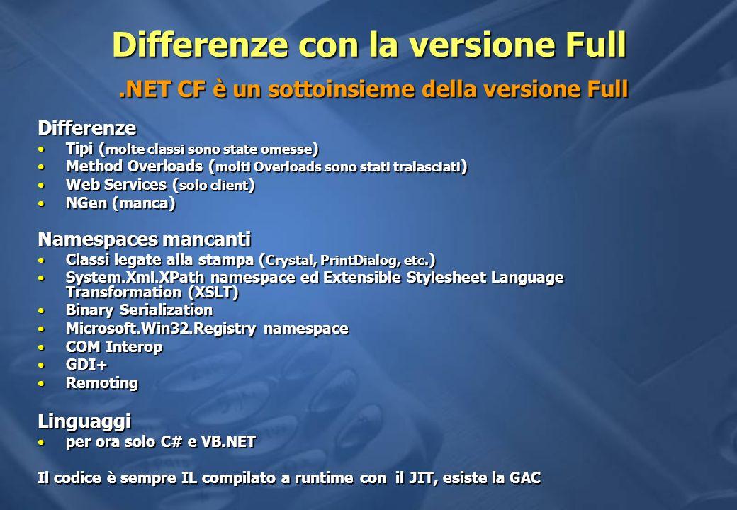 Differenze con la versione Full.NET CF è un sottoinsieme della versione Full Differenze Tipi ( molte classi sono state omesse )Tipi ( molte classi sono state omesse ) Method Overloads ( molti Overloads sono stati tralasciati )Method Overloads ( molti Overloads sono stati tralasciati ) Web Services ( solo client )Web Services ( solo client ) NGen (manca)NGen (manca) Namespaces mancanti Classi legate alla stampa ( Crystal, PrintDialog, etc.