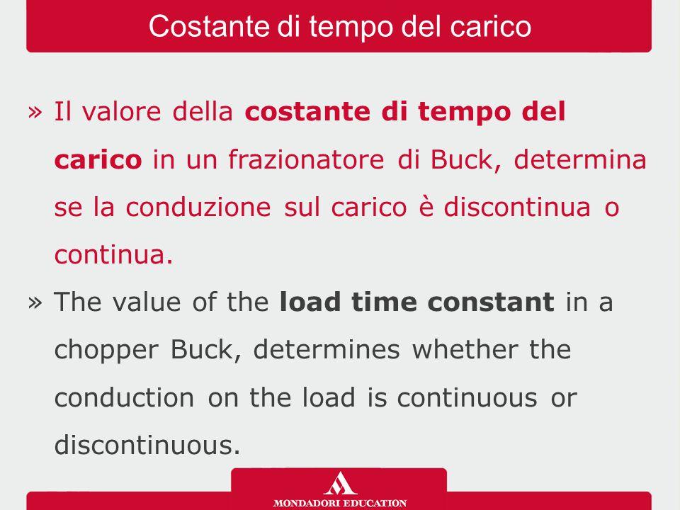 »Il valore della costante di tempo del carico in un frazionatore di Buck, determina se la conduzione sul carico è discontinua o continua. »The value o