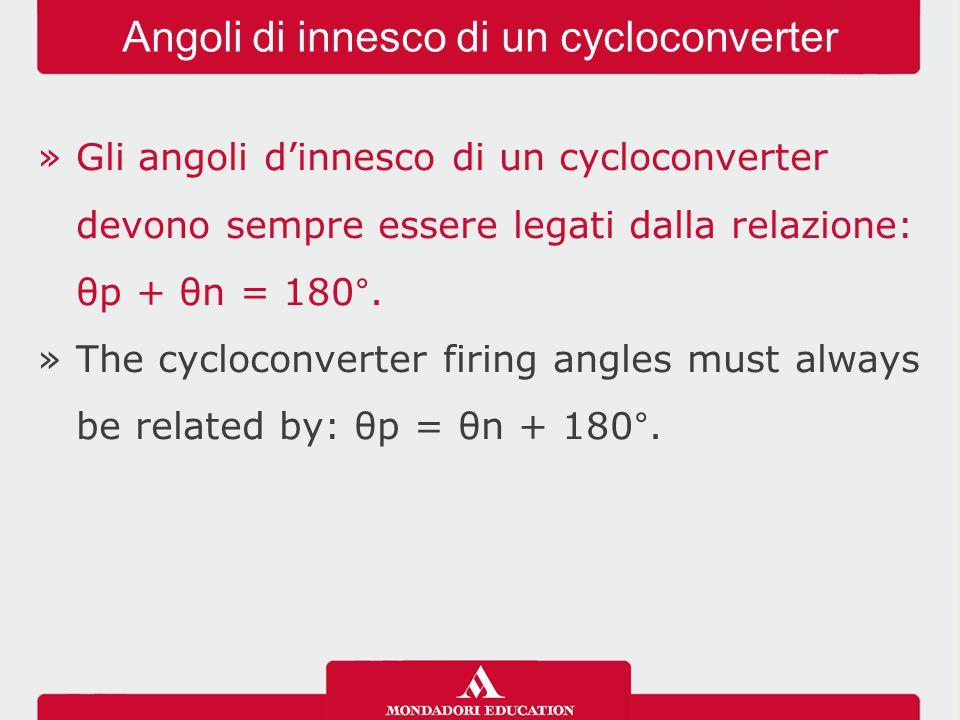 »Gli angoli d'innesco di un cycloconverter devono sempre essere legati dalla relazione: θp + θn = 180°. »The cycloconverter firing angles must always