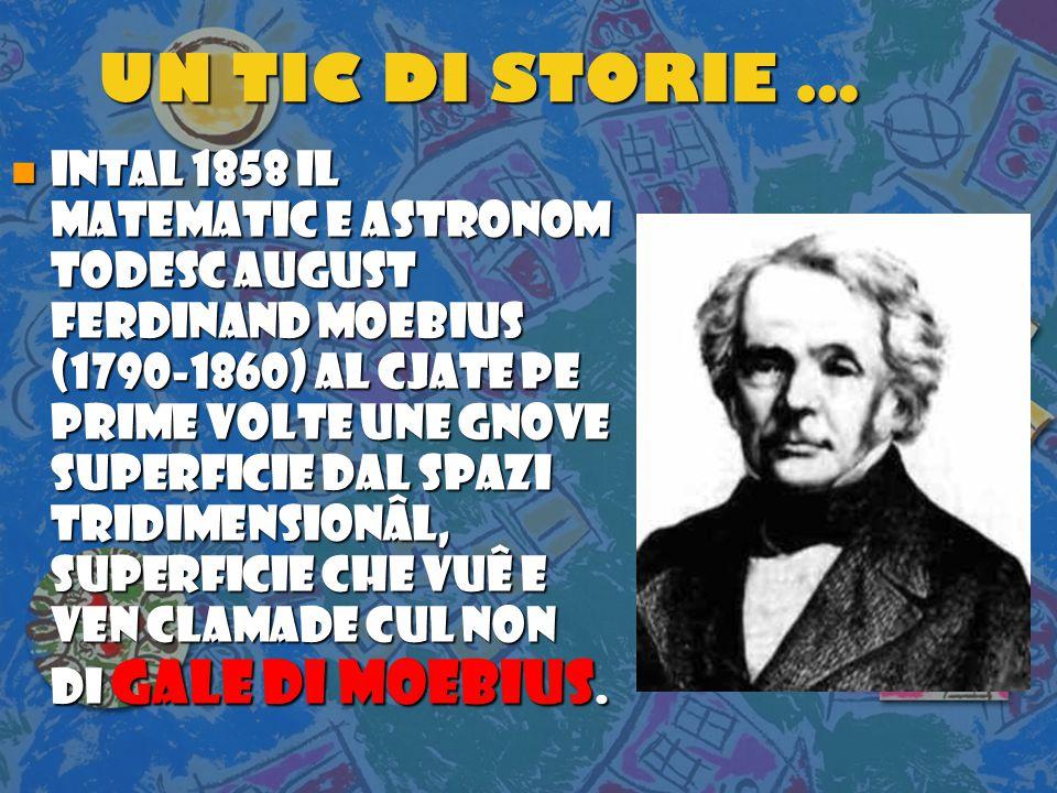 UN TIC DI STORIE … n INTAL 1858 il matematic e astronom tODESC August Ferdinand Moebius (1790-1860) AL CJATE PE PRIME VOLTE unE GNOVE superficie dAl spazi tridimensionÂl, superficie che VUÊ E VEN CLAMADE cUL noN di GALE di Moebius.