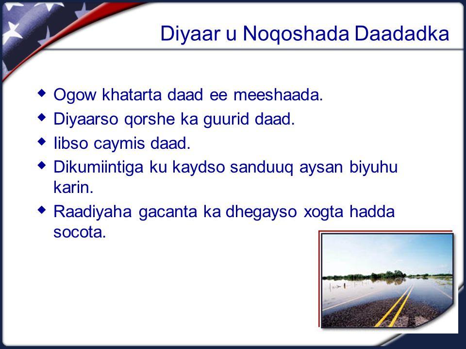 Diyaar u Noqoshada Daadadka  Ogow khatarta daad ee meeshaada.