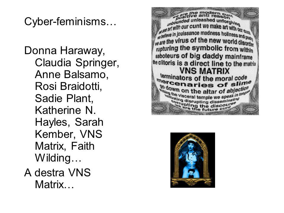 Cyber-feminisms… Donna Haraway, Claudia Springer, Anne Balsamo, Rosi Braidotti, Sadie Plant, Katherine N.