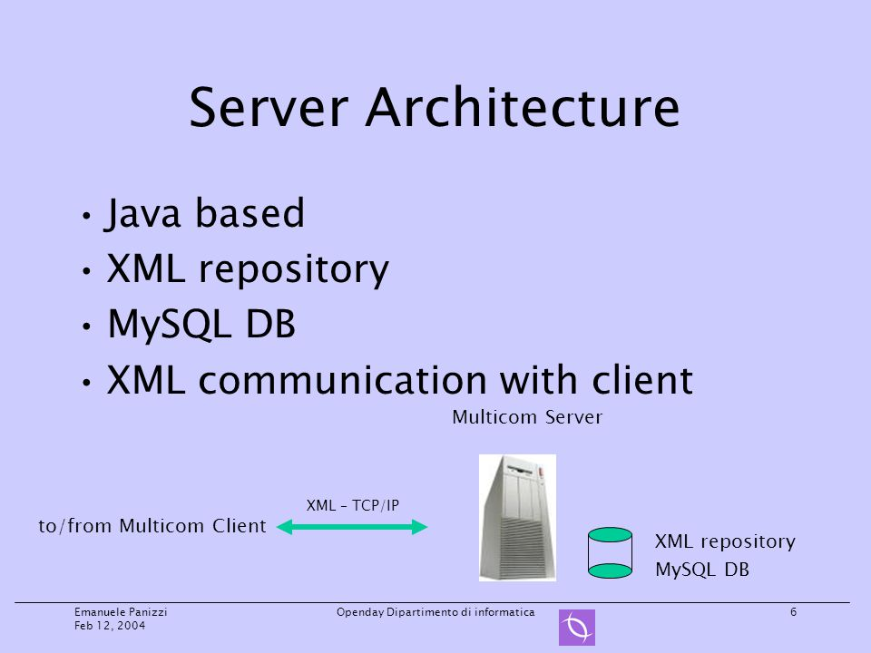 Emanuele Panizzi Feb 12, 2004 Openday Dipartimento di informatica6 Server Architecture Java based XML repository MySQL DB XML communication with client Multicom Server XML repository MySQL DB to/from Multicom Client XML – TCP/IP