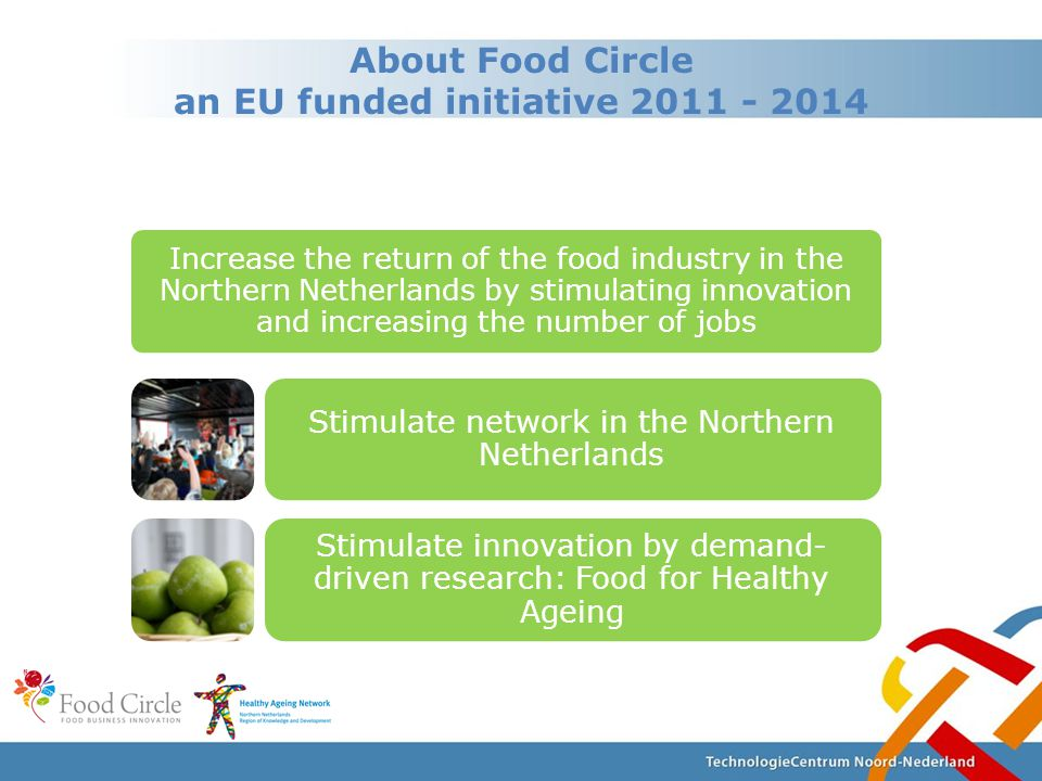 About Food Circle an EU funded initiative 2011 - 2014 Increase the return of the food industry in the Northern Netherlands by stimulating innovation and increasing the number of jobs Stimulate network in the Northern Netherlands Stimulate innovation by demand- driven research: Food for Healthy Ageing