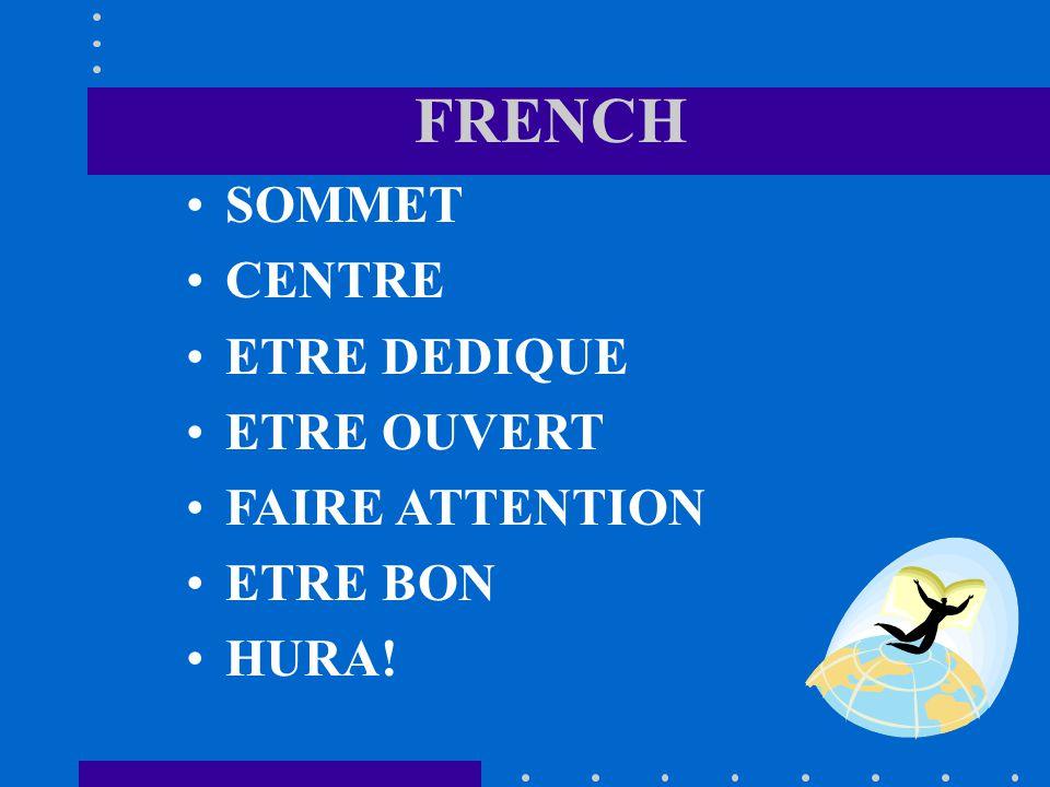 FRENCH SOMMET CENTRE ETRE DEDIQUE ETRE OUVERT FAIRE ATTENTION ETRE BON HURA!