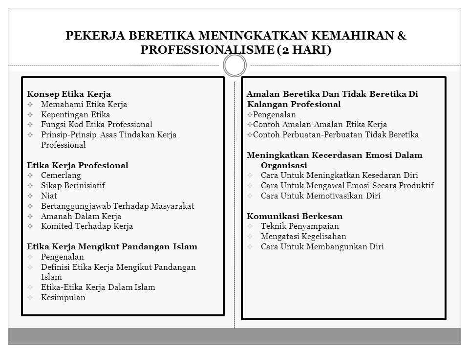 PEKERJA BERETIKA MENINGKATKAN KEMAHIRAN & PROFESSIONALISME (2 HARI) Konsep Etika Kerja  Memahami Etika Kerja  Kepentingan Etika  Fungsi Kod Etika Professional  Prinsip-Prinsip Asas Tindakan Kerja Professional Etika Kerja Profesional  Cemerlang  Sikap Berinisiatif  Niat  Bertanggungjawab Terhadap Masyarakat  Amanah Dalam Kerja  Komited Terhadap Kerja Etika Kerja Mengikut Pandangan Islam  Pengenalan  Definisi Etika Kerja Mengikut Pandangan Islam  Etika-Etika Kerja Dalam Islam  Kesimpulan Amalan Beretika Dan Tidak Beretika Di Kalangan Profesional  Pengenalan  Contoh Amalan-Amalan Etika Kerja  Contoh Perbuatan-Perbuatan Tidak Beretika Meningkatkan Kecerdasan Emosi Dalam Organisasi  Cara Untuk Meningkatkan Kesedaran Diri  Cara Untuk Mengawal Emosi Secara Produktif  Cara Untuk Memotivasikan Diri Komunikasi Berkesan  Teknik Penyampaian  Mengatasi Kegelisahan  Cara Untuk Membangunkan Diri