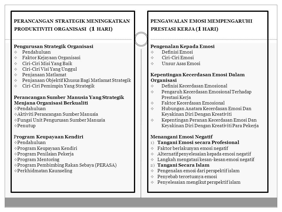 PERANCANGAN STRATEGIK MENINGKATKAN PRODUKTIVITI ORGANISASI ( 1 HARI) Pengurusan Strategik Organisasi  Pendahuluan  Faktor Kejayaan Organisasi  Ciri-Ciri Misi Yang Baik  Ciri-Ciri Visi Yang Unggul  Penjanaan Matlamat  Penjanaan Objektif Khusus Bagi Matlamat Strategik  Ciri-Ciri Pemimpin Yang Strategik Perancangan Sumber Manusia Yang Strategik Menjana Organisasi Berkualiti  Pendahuluan  Aktiviti Perancangan Sumber Manusia  Fungsi Unit Pengurusan Sumber Manusia  Penutup Program Keupayaan Kendiri  Pendahuluan  Program Keupayaan Kendiri  Program Penilaian Pekerja  Program Mentoring  Program Pembimbing Rakan Sebaya (PERASA)  Perkhidmatan Kaunseling PENGAWALAN EMOSI MEMPENGARUHI PRESTASI KERJA ( 1 HARI) Pengenalan Kepada Emosi  Definisi Emosi  Ciri-Ciri Emosi  Unsur Asas Emosi Kepentingan Kecerdasan Emosi Dalam Organisasi  Definisi Kecerdasan Emosional  Pengaruh Kecerdasan Emosional Terhadap Prestasi Kerja  Faktor Kecerdasan Emosional  Hubungan Anatara Kecerdasan Emosi Dan Keyakinan Diri Dengan Kreativiti  Kepentingan Peranan Kecerdasan Emosi Dan Keyakinan Diri Dengan Kreativiti Para Pekerja Menangani Emosi Negatif 1) Tangani Emosi secara Profesional  Faktor berlakunyan emosi negatif  Alternatif penyelesaian kepada emosi negatif  Langkah mengatasi kesan-kesan emosi negatif 2) Tangani Secara Islam  Pengenalan emosi dari perspektif islam  Penyebab tercetusnya emosi  Penyelesaian mengikut perspektif islam